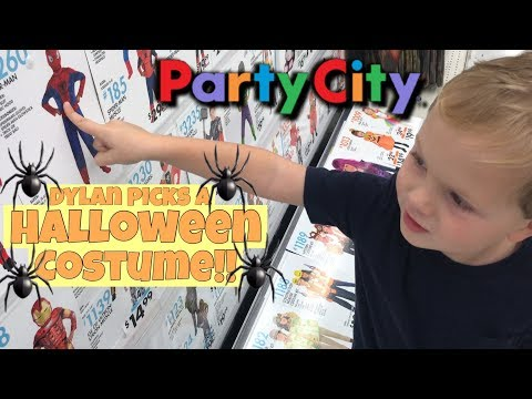 TODDLER PICKS OUT HIS HALLOWEEN COSTUME AT PARTY CITY! KID CHOOSES COSTUME FOR HALLOWEEN!