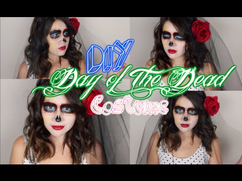 DIY Day of The Dead Inspired Makeup, Veil and Costume!