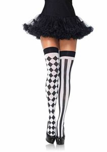 Leg Avenue Women's Thigh Highs, black and White, One Size